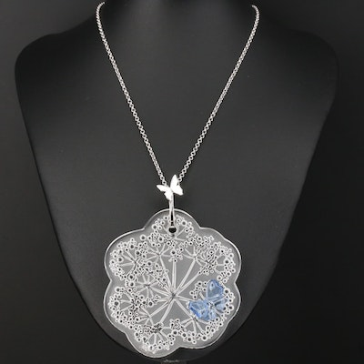 Lalique Sterling Glass Ombelles Butterfly Pendant Necklace with Box