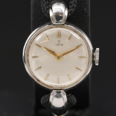 Vintage Tudor Stainless Steel Stem Wind Wristwatch