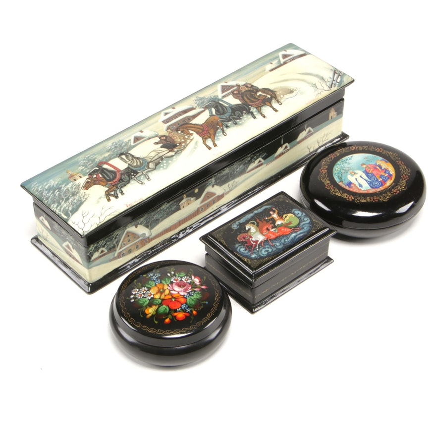 Russian Hand-Painted Lacquer Boxes with Scenic and Fairy Tale Motifs