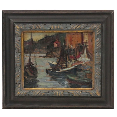 "Felice Vellan Oil Painting ""Le port de Camogli"", Mid 20th Century"