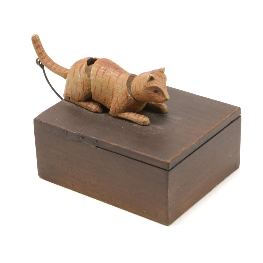 Decorative Wooden Box with Cat Handle Lever, Mid to Late 20th Century