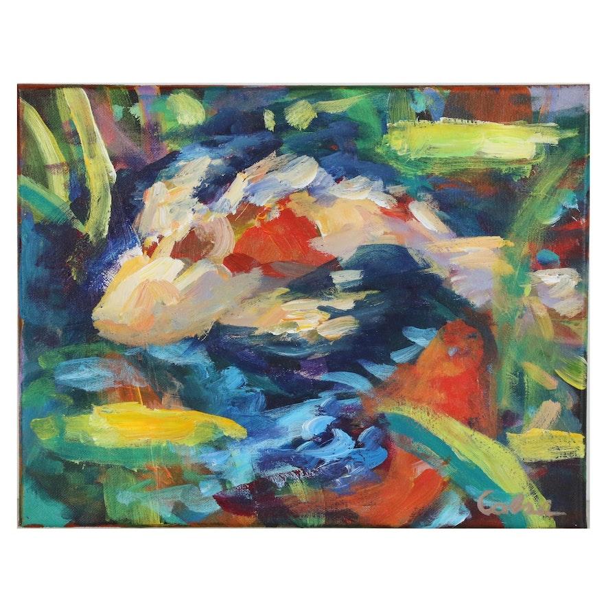 Amelia Colne Acrylic Painting of Koi Fish