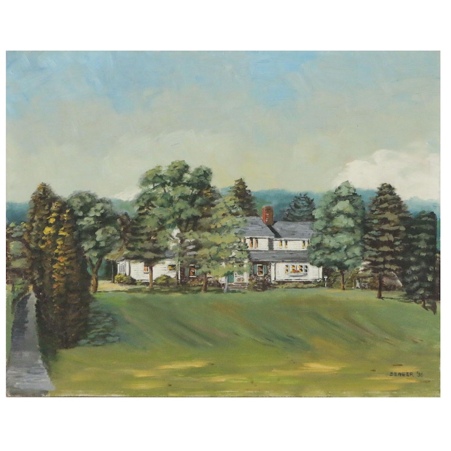 Oil Painting of House and Grounds, Mid 20th Century