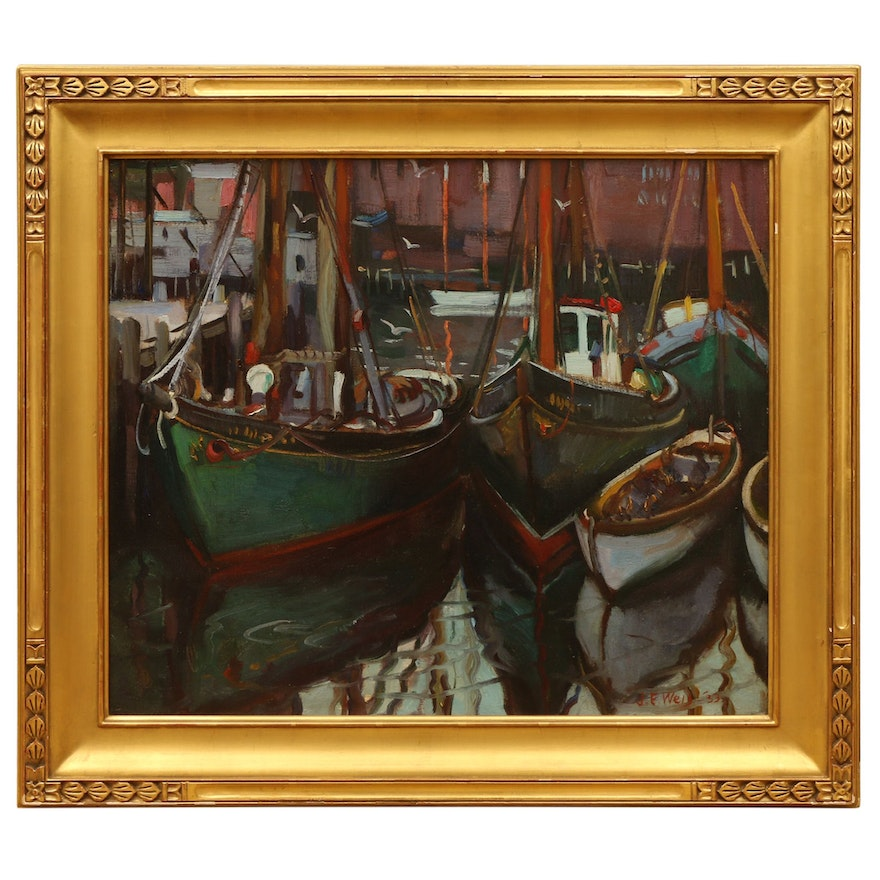 "John Ellsworth Weis Oil Painting ""Fishing Boats, Gloucester"", 1933"