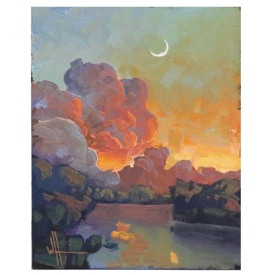 William Hawkins Landscape Oil Painting of Sunset