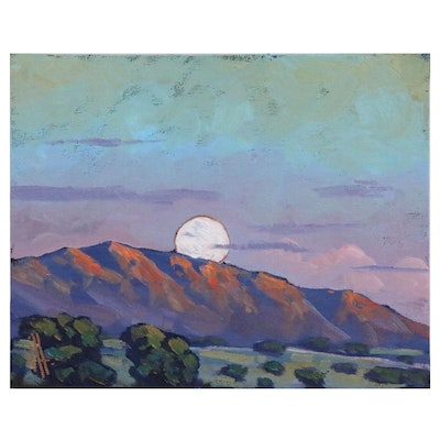 William Hawkins Landscape Oil Painting of Mountains at Twilight
