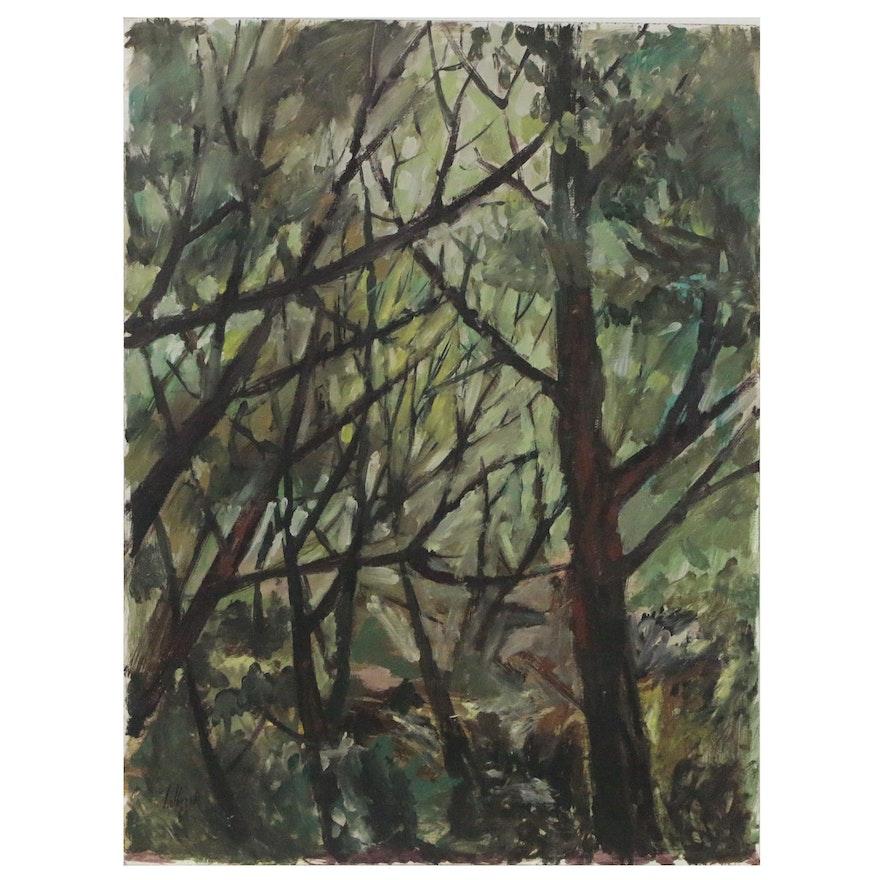 Peter Holbrook Landscape Oil Painting of Forest