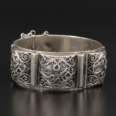 Vintage French 800 Silver Panel Bracelet