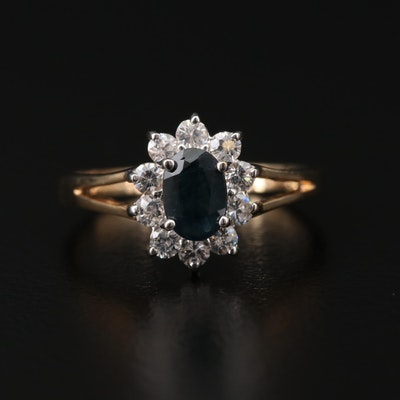 10K Gold Sapphire and Cubic Zirconia Ring