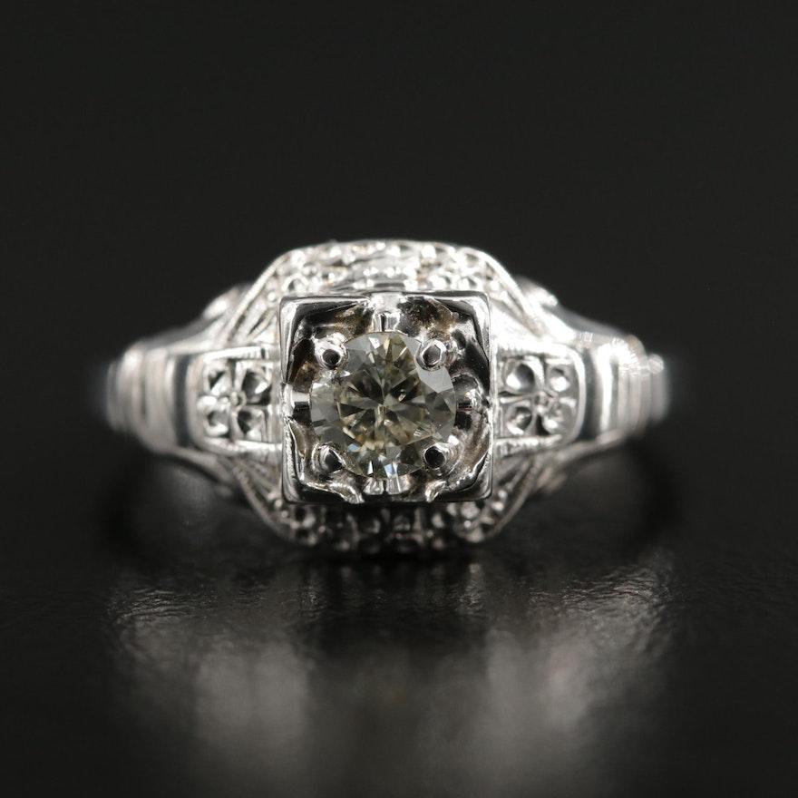 1930s Palladium and 14K Gold Diamond Ring