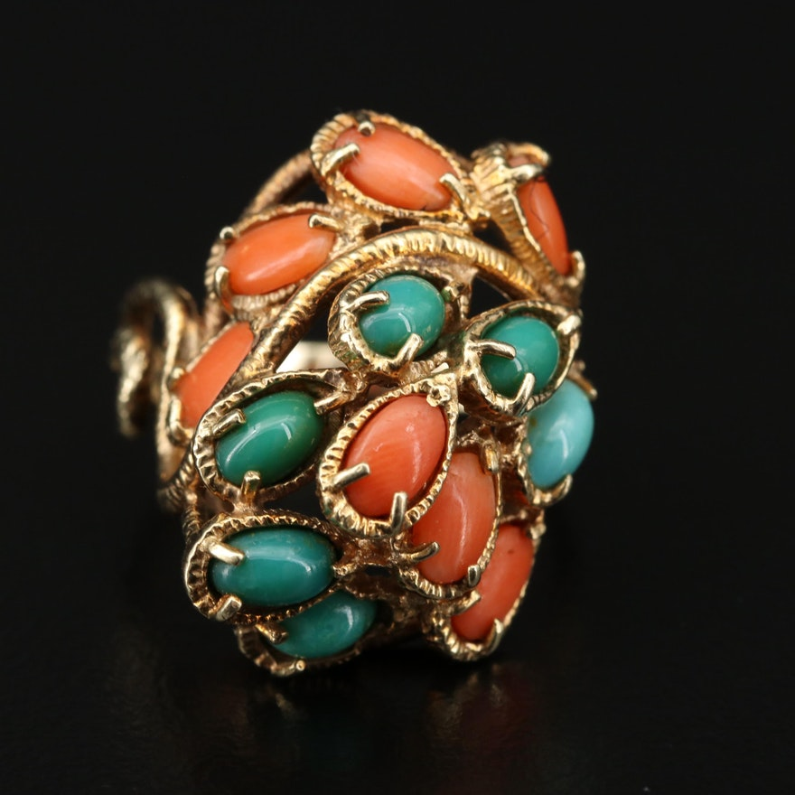 14K Gold Coral and Turquoise Ring
