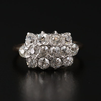 14K Gold 1.96 CTW Diamond Ring with Platinum Accent