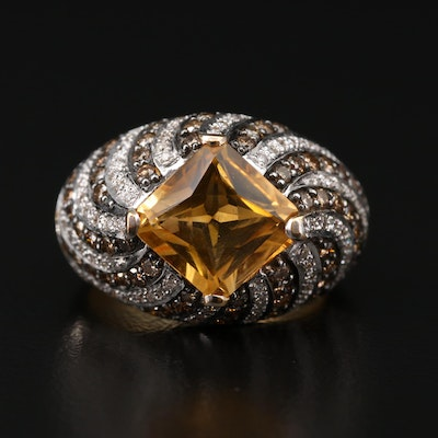 18K Gold Citrine and 1.26 CTW Diamond Dome Ring