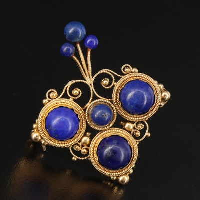 Etruscan Revival 14K Gold Lapis Lazuli Brooch
