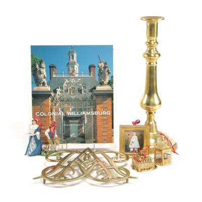 Colonial Williamsburg Book and Brass Trivet with Brass Candlestick and More
