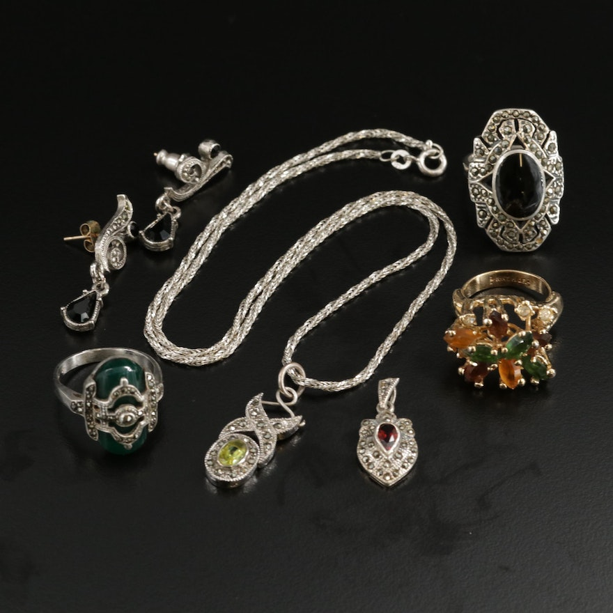 Sterling Silver Rings With Earrings and Pendant Featuring Gemstone Accents