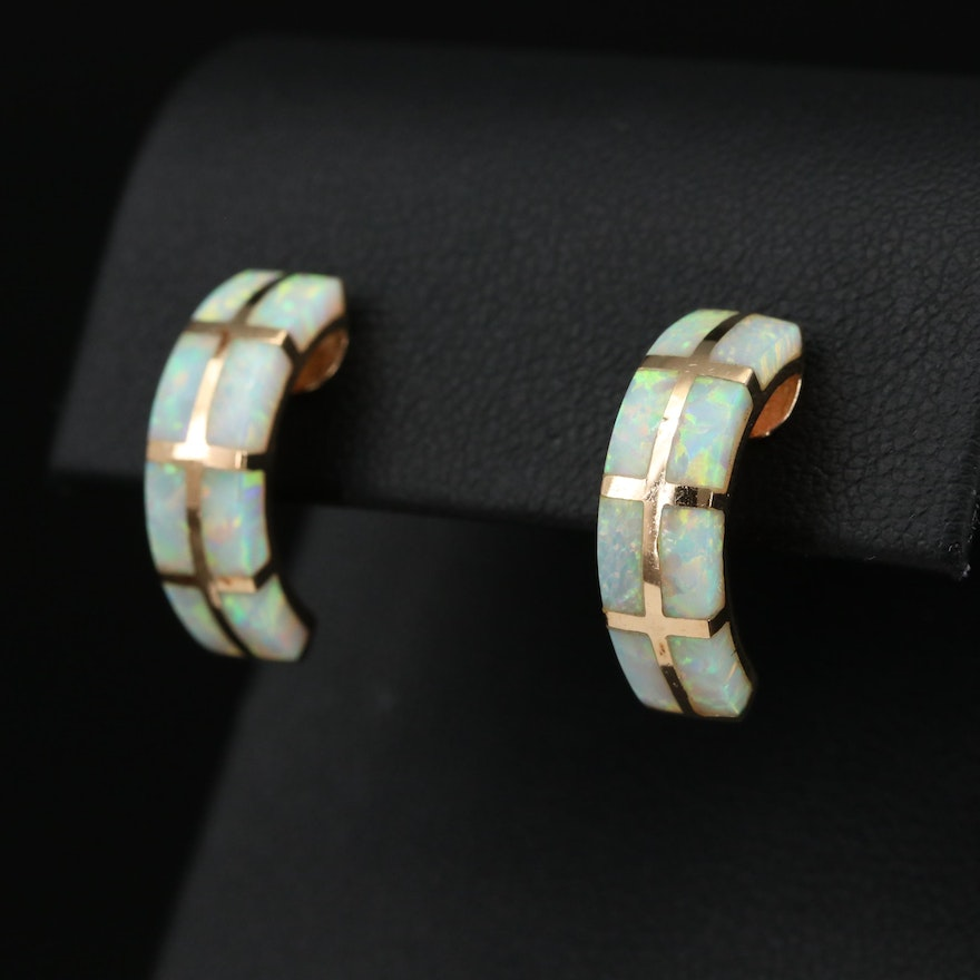 14K Gold Synthetic Opal Half Hoop Earrings