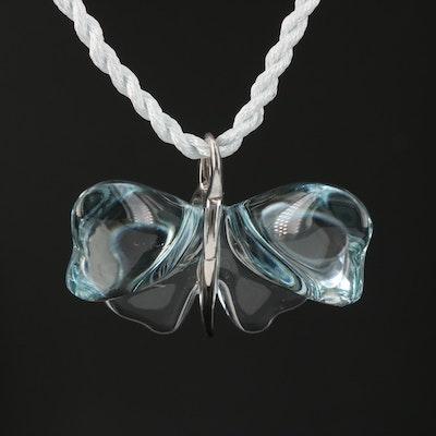Lalique Glass Crystal 'Papillon' Pendant Necklace