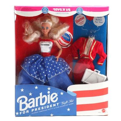"""Mattel Barbie """"For President"""" Gift Set in Original Packaging, 1991"""