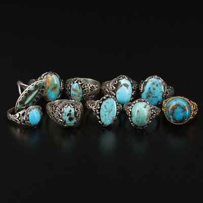 Collection of Sterling and 900 Silver Rings with Turquoise