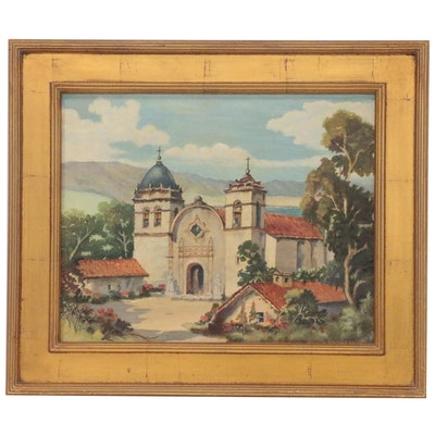 Florence Kittel Oil Painting of Mission Style Church