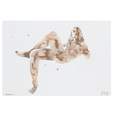 Anastasija Serdnova Abstract Female Nude Watercolor Painting