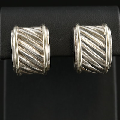 "David Yurman ""Classic Cable Cigar Band"" Sterling Earrings with 14K Accents"