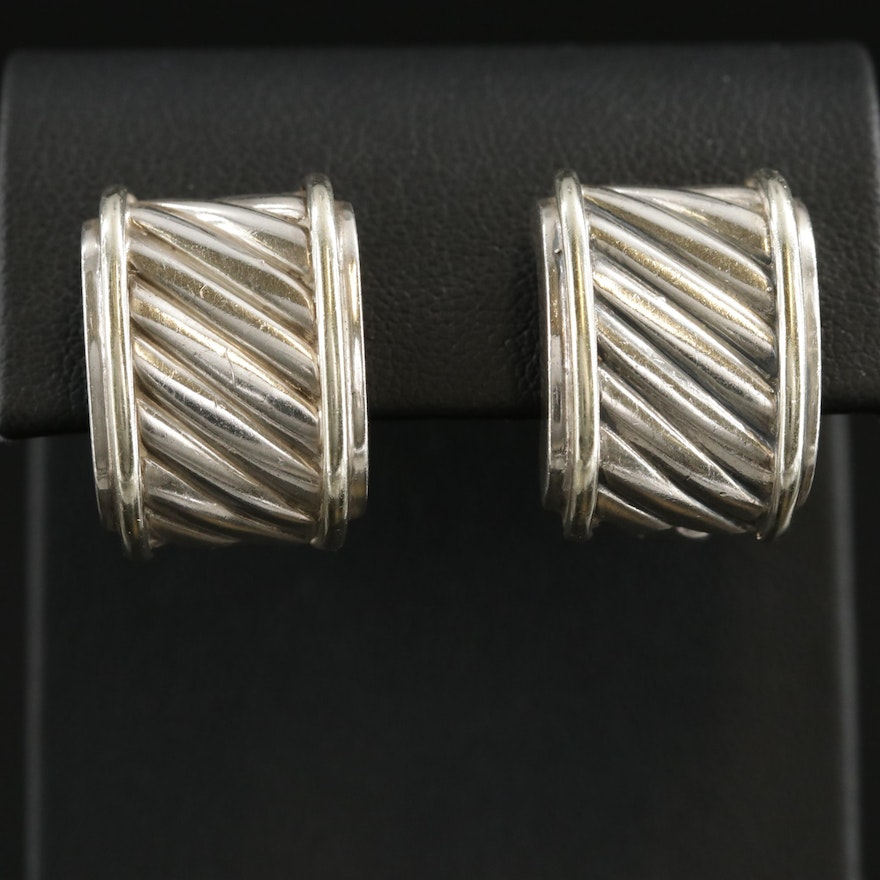 """David Yurman """"Classic Cable Cigar Band"""" Sterling Earrings with 14K Accents"""