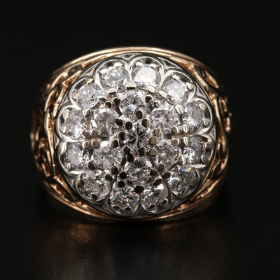 10K Gold 1.90 CTW Diamond Cluster Ring with Scroll Design