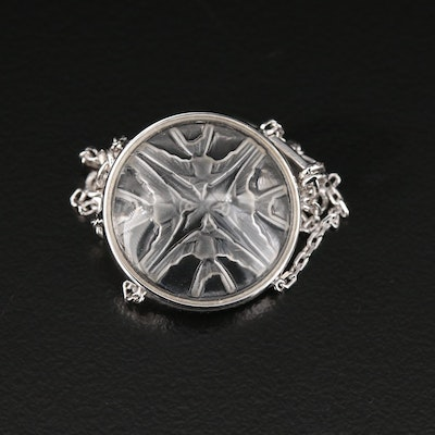 """Lalique Sterling Silver and Crystal """"Message"""" Ring with Swallow Motif"""