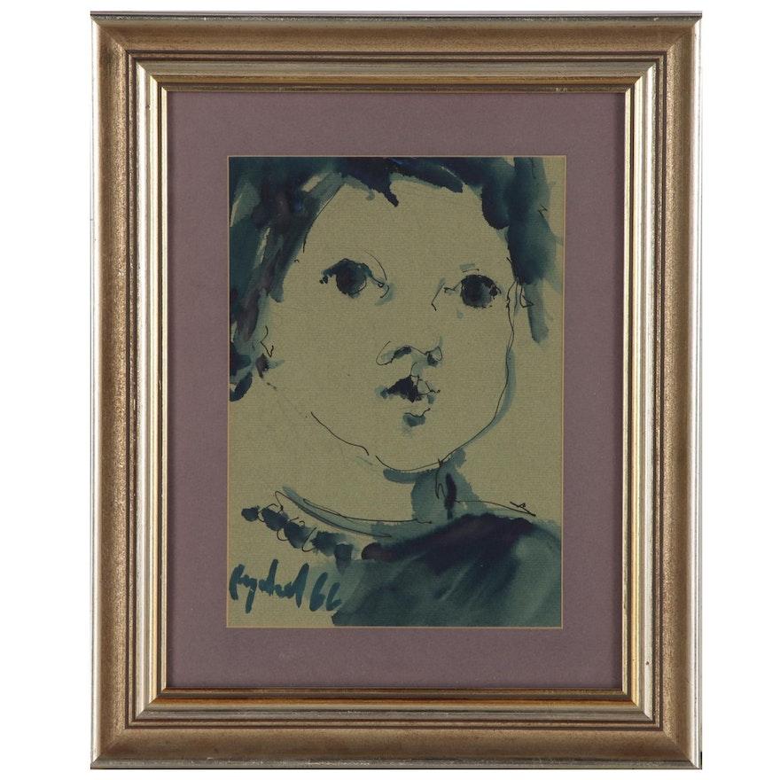 Mixed Media Portrait of Child, 1966