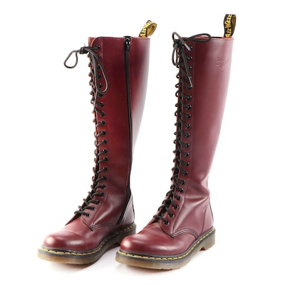Dr. Martens 1B60 Maroon Virginia Leather 20-Eye Lace-Up Zip Boots