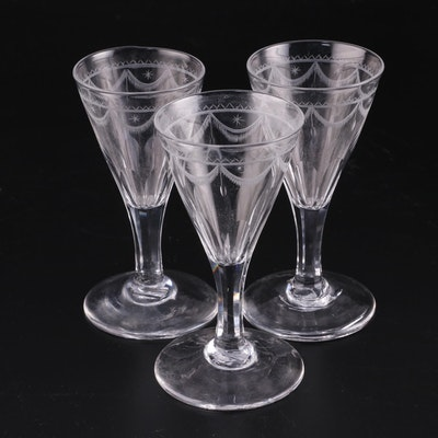 Three Etched Glass Cordials, Early 19th Century