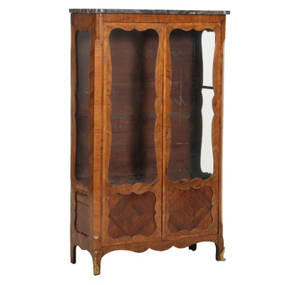Louis XV Style Marble Top Kingwood Vitrine, Early 20th Century