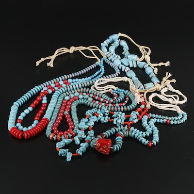 Coral, Imitation Coral and Magnesite Hanks of Beaded Necklaces