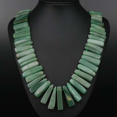 Hand Knotted Aventurine Beaded Necklace