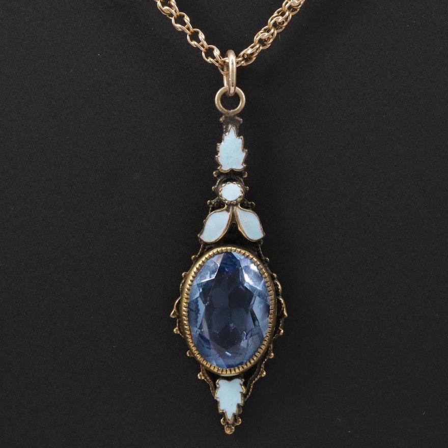 Art Nouveau Glass and Enamel Pendant on Victorian Chain Necklace