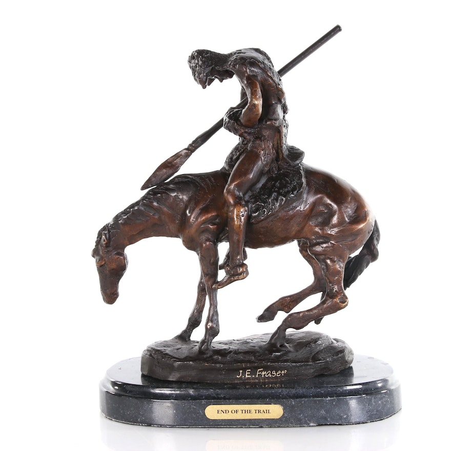 """Brass Sculpture after James Earle Fraser """"End of the Trail"""""""