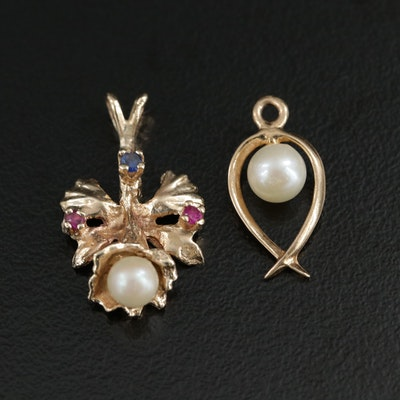 14K Gold Cultured Pearl Pendant With 10K Gold Synthetic Gemstone Pendant