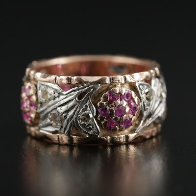 Vintage 14K Gold Diamond and Ruby Floral Ring with Palladium Accents