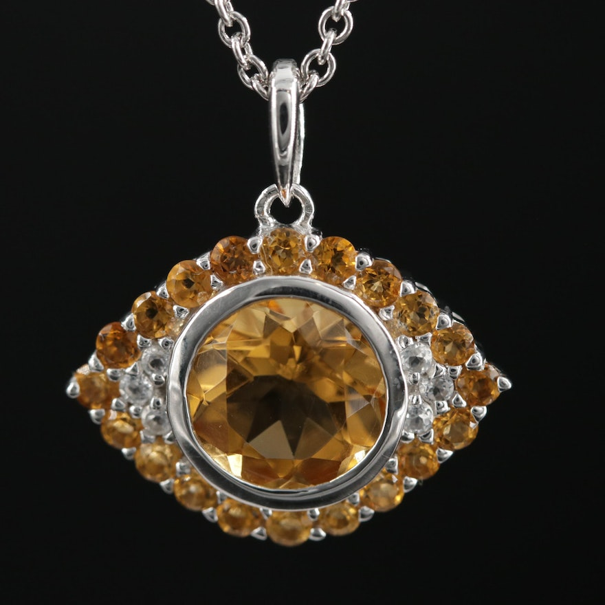 "Sterling Silver Citrine and Topaz ""Evil Eye"" Pendant Necklace"