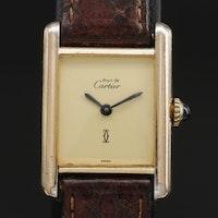 Cartier Tank Vermeil Sterling Silver Stem Wind Wristwatch, Vintage
