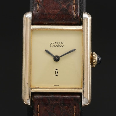 Cartier Tank Vermeil Sterling Silver Stem Wind Wristwatch, Vintage