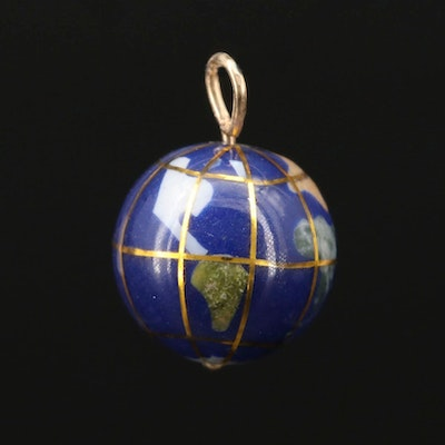 Globe Charm Featuring Abalone and Gemstone Inlay With 14K Gold Bail