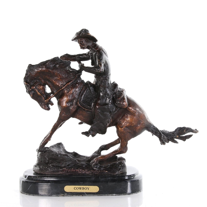 "Brass Sculpture after Frederic Remington ""Cowboy"""