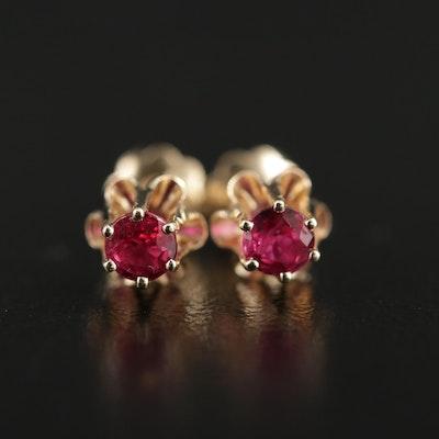 Vintage 14K Yellow Gold Ruby Stud Earrings