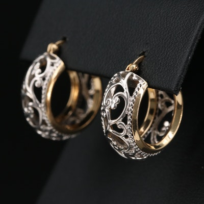 14K Yellow and White Gold Openwork Hoop Earrings