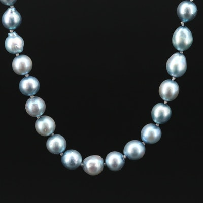 Cultured Pearl Strand Necklace With 14K White Gold Clasp