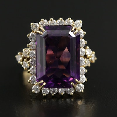 18K Gold 15.97 CT Amethyst and 1.74 CTW Diamond Ring