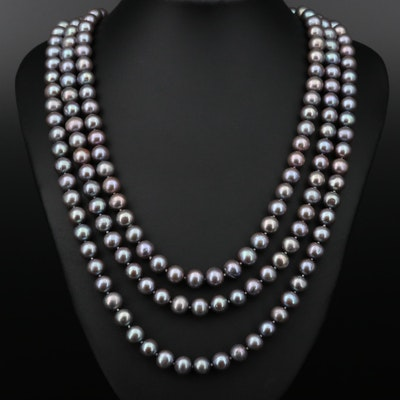 Pearl Multi-Strand Necklace with 14K Gold Clasp